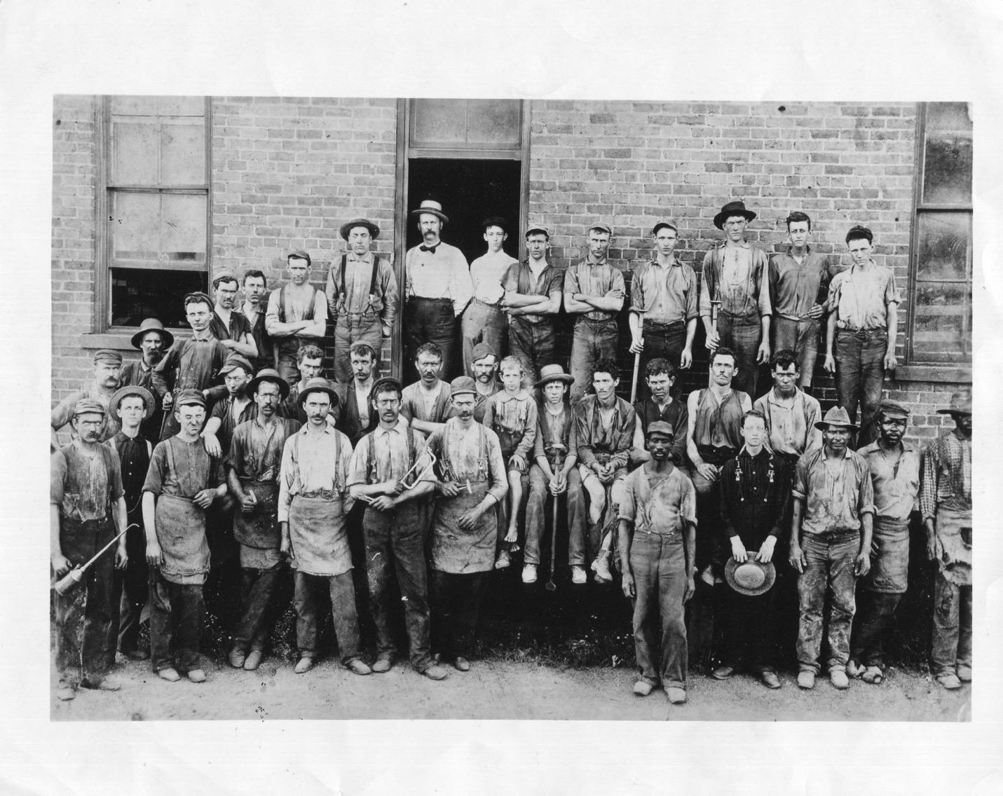 Black and White picture of Hardwick Stove workers in 1898