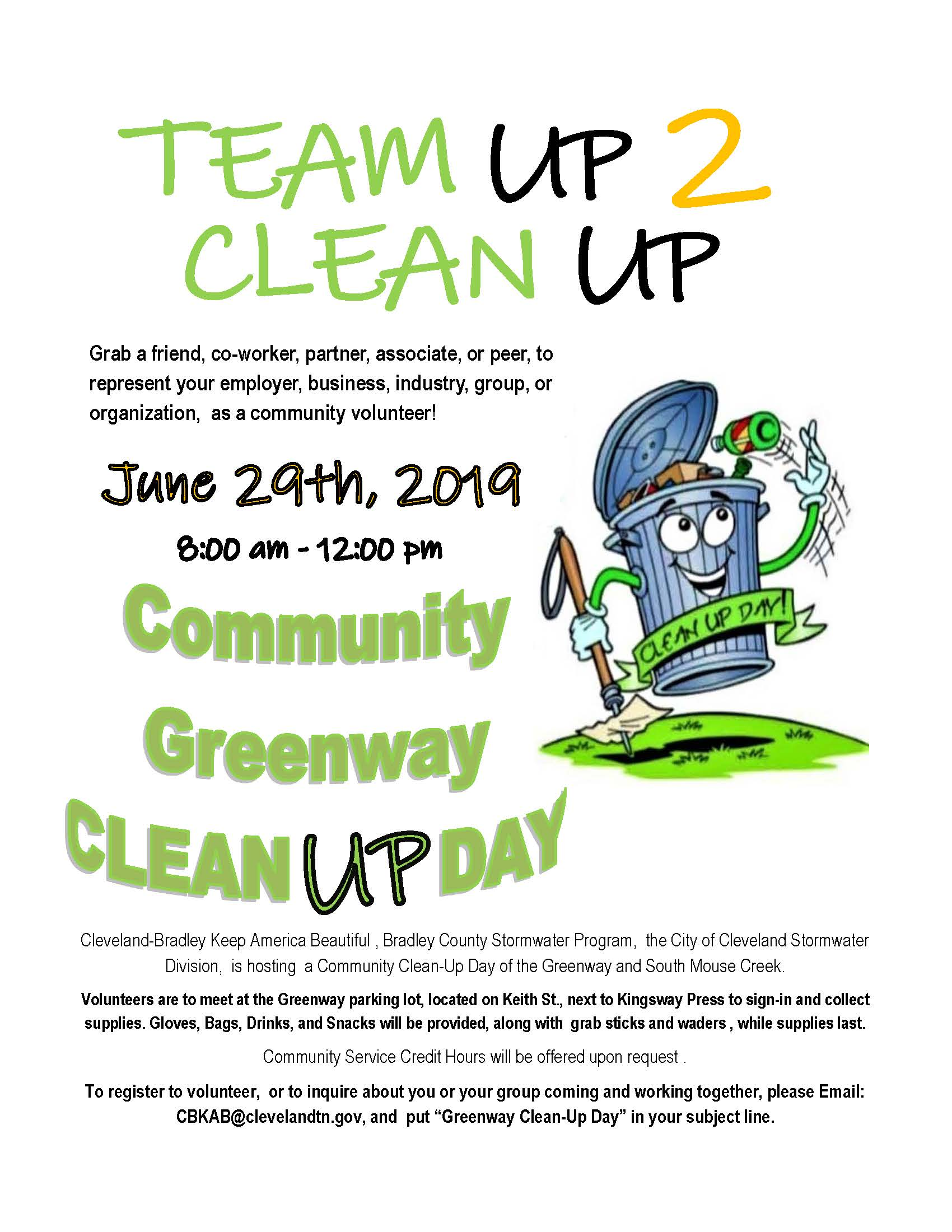 Team Up 2 Clean Up - Community Cleanup Opens in new window
